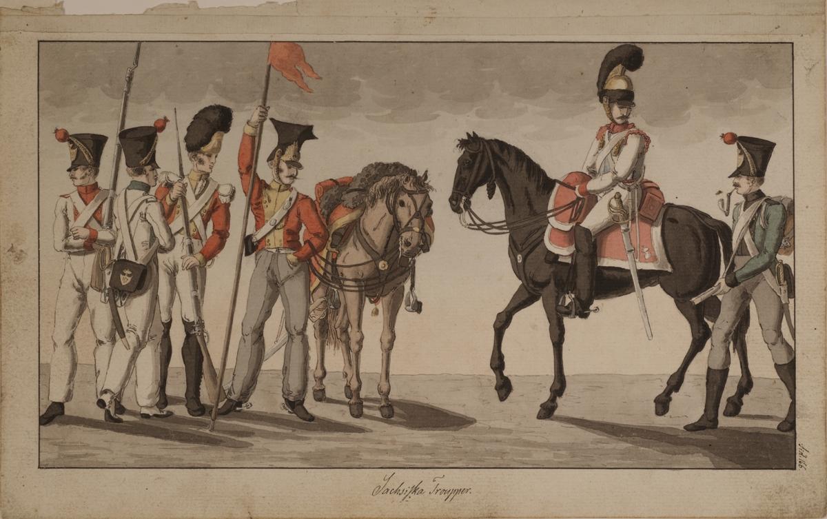Sachsiska trupper. Originalteckning i färg av Carl Johan Ljunggren.
