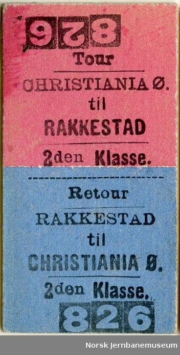 Tur/returbillett Christiania-Rakkestad , 2den Klasse, ubrukt.