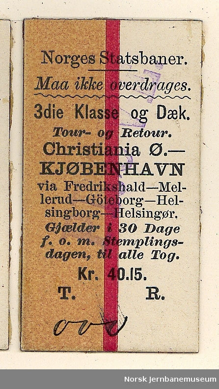 Tur/returbillett Christiania Ø-København o/Helsingborg-Helsingør, 3die Klasse og Dæk