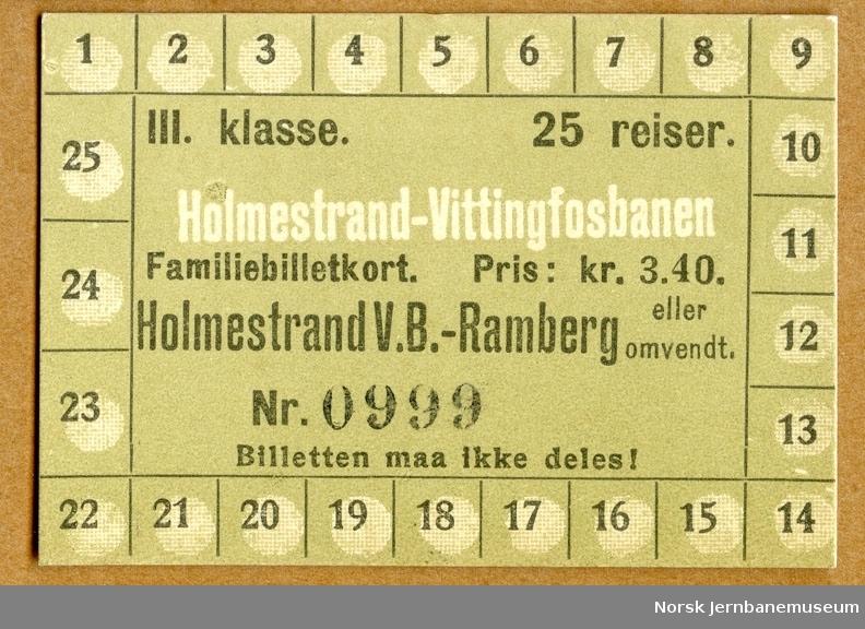 Billettkort Holmestrand V.B-Ramberg, familiebillettkort, 25 reiser, 3. kl.
