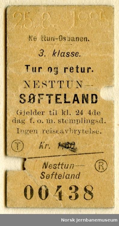 Tur/returbillett Nesttun-Søfteland, 3. klasse, brukt