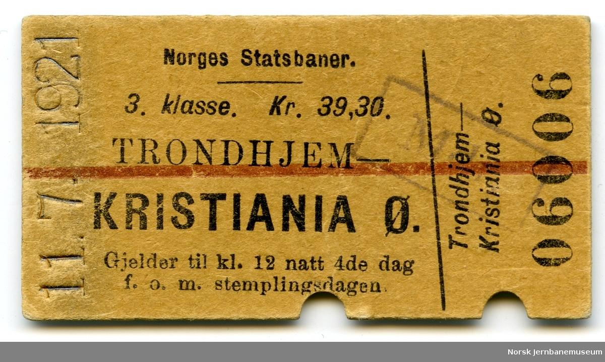 Billett Trondheim-Kristiania Ø, 3. klasse, brukt