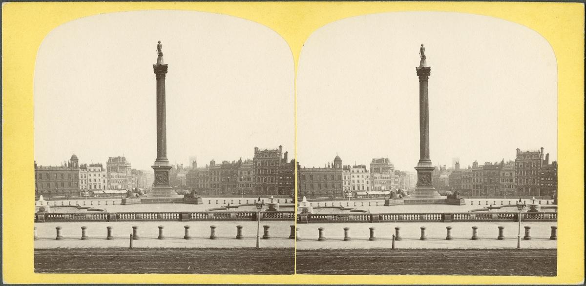 Stereobild med motiv av Trafalgar Square, London, England.