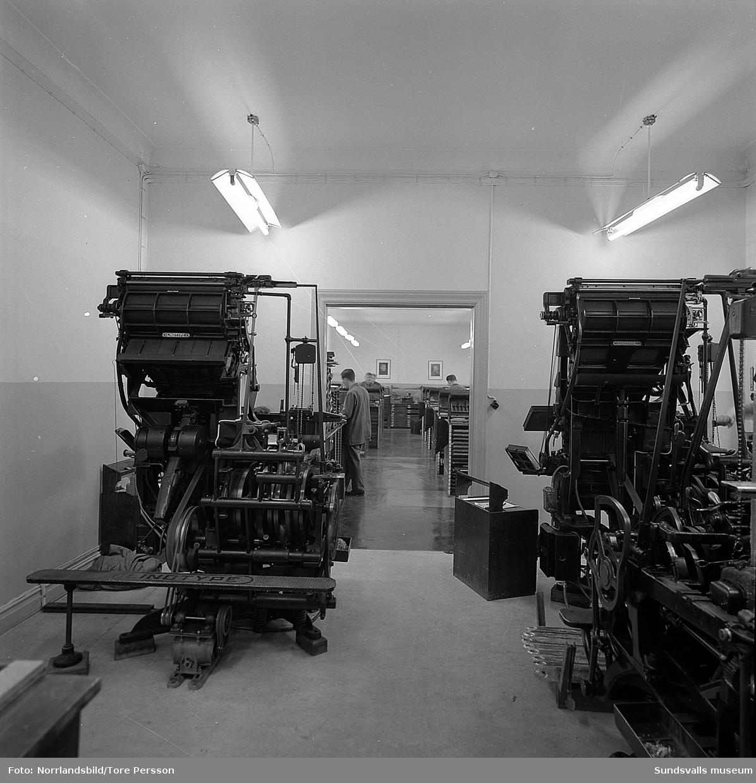 Interiörbilder från Boktryckeri AB (senare Tryckeribolaget).