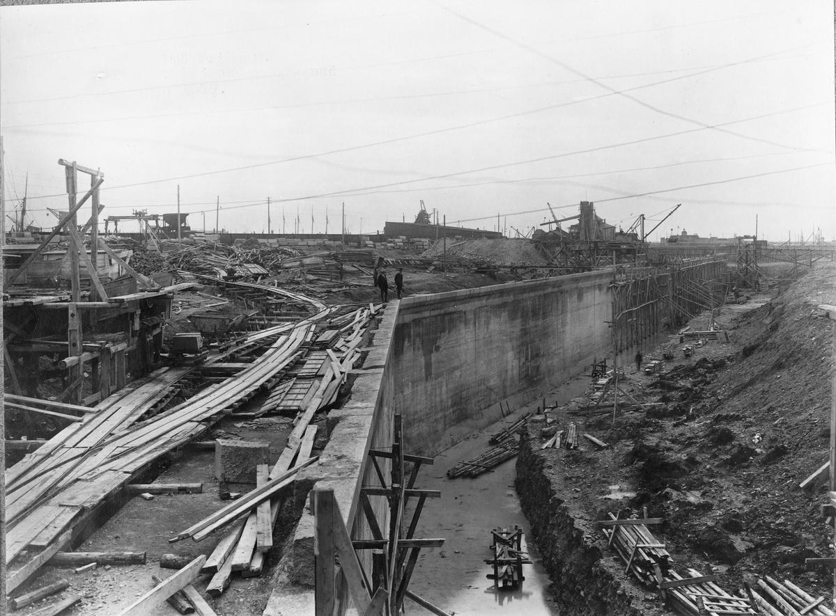 Byggandet av Malmö Frihamn, sommaren 1919.