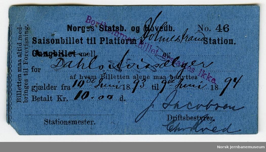 Saisonbillet til platform Holmestrand Station for Dahls Avissælger, 10.06.1893-09.06.1894