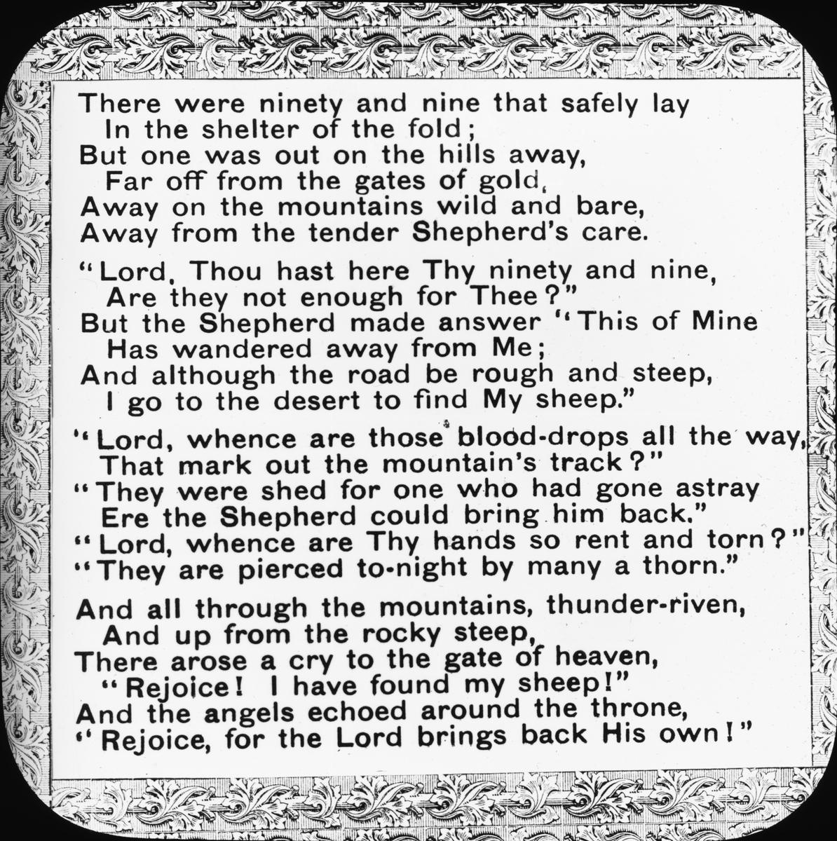 """Skioptikonbild. Psalmen """"De nittionio"""" (The Ninety and Nine) av Elizabeth C. Clephane (1868), som refererar till den gode herden (the Good Shepherd).     ::"""
