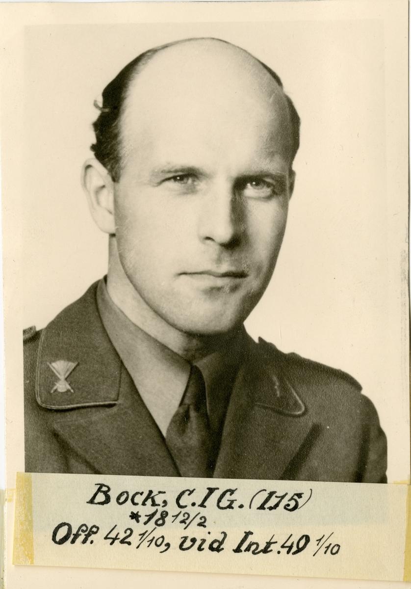 Porträtt av Carl Erik Gunnar Bock, officer vid Älvsborgs regemente I 15.