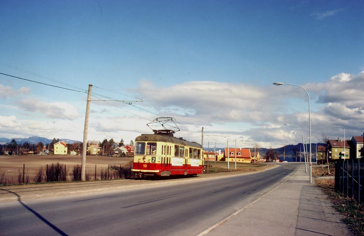 Vogn 19 ved endestasjonen Fagerheim på Ladelinjen.