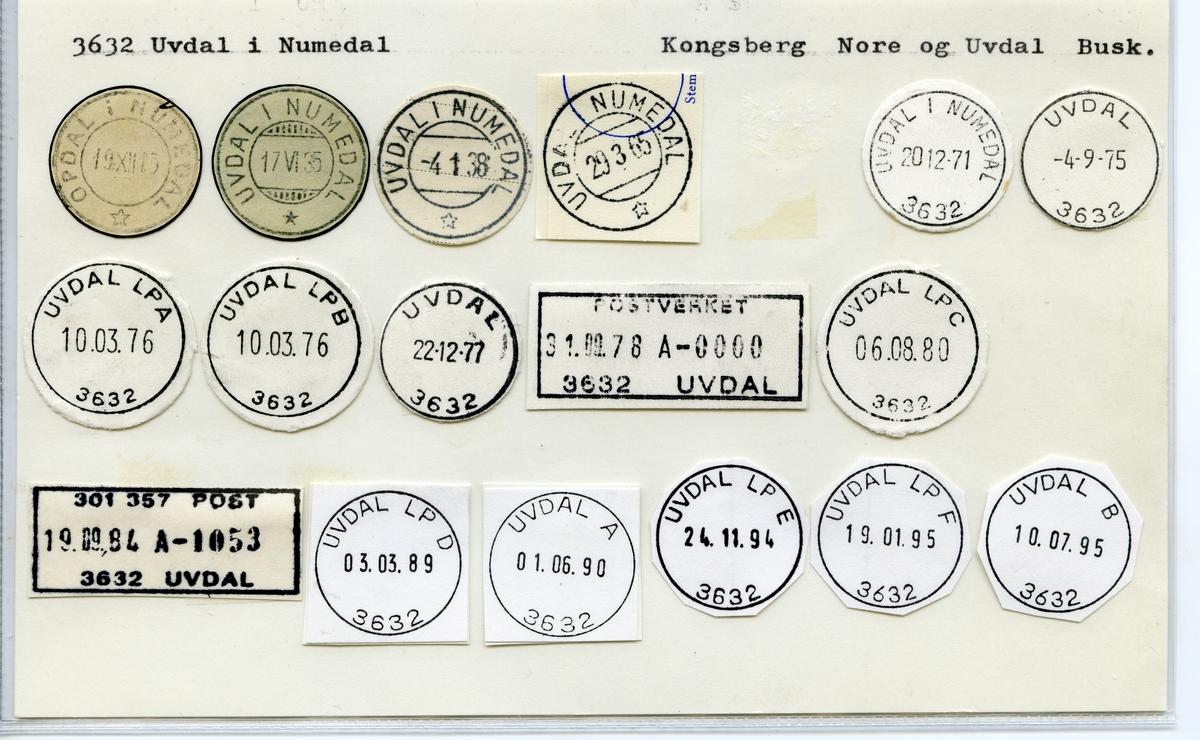 Stempelkatalog 3632 Uvdal i Numedal (Opdal i Numedal), JKongsberg, Nore og Uvdal, Buskerud