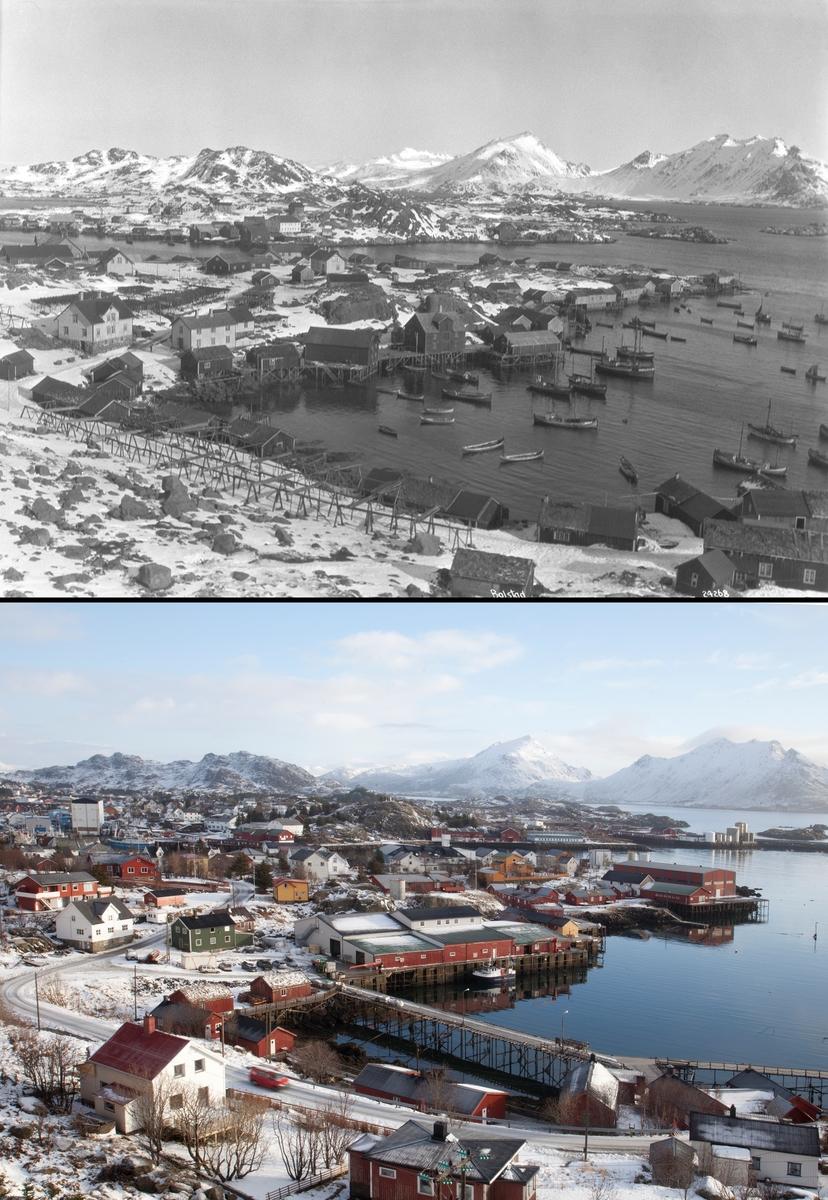 Refotografering. Oversiktsbilde av Kræmmervika på Ballstad. Fiskevær med fiksebåter og fiskehjeller i 1924. Fiskebåtene er borte og fiskehjellet er erstattet med bebyggelse. Fotografert 1924 og 2015.