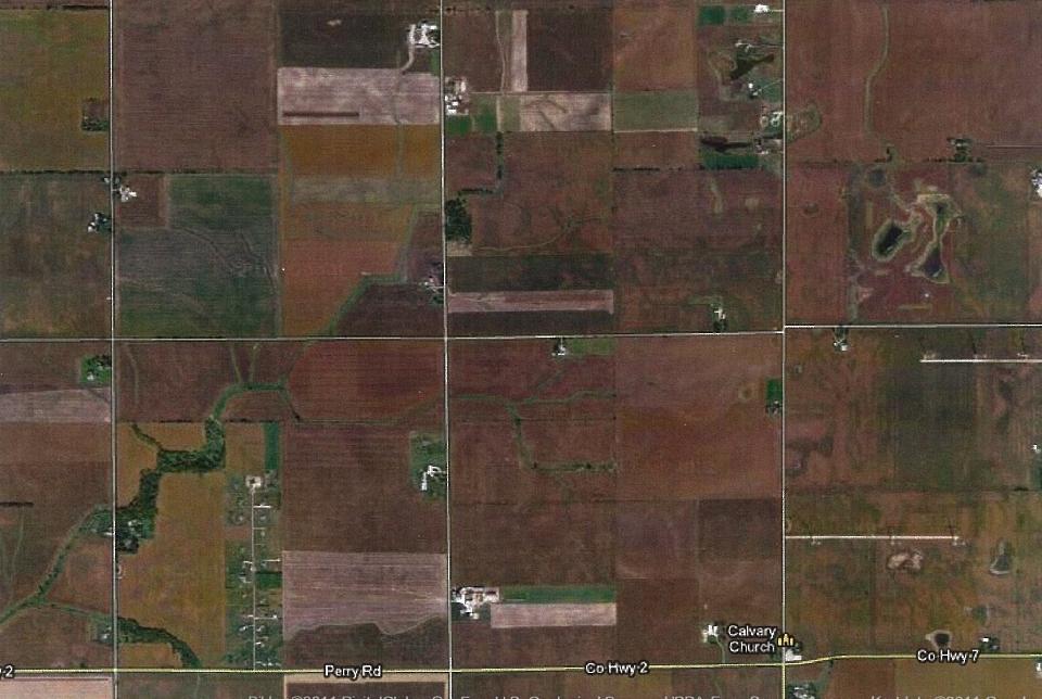 Flyfoto over deler av Alto Township. Mikkel Knutson og hans familie slo seg ned i Alto route 11,1 squaremile section i Alto township, Lee county Illinois.
