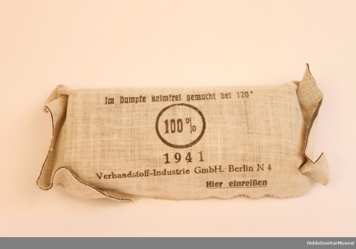 Tyskprodusert enkeltmannspakke innpakket i gummiert materiale