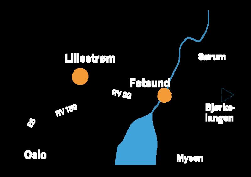 Kart som viser adkomst til Fetsund lenser