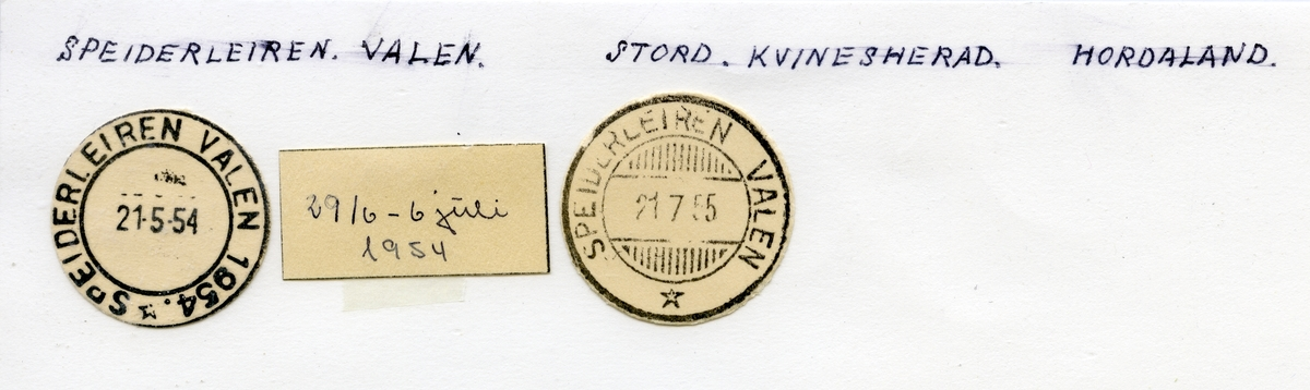 Stempelkatalog Speiderleiren Valen, Stord, Kvinnherad, Hordaland