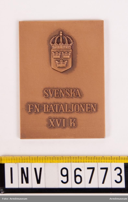 Plakett i brons för Svenska FN-bataljonen XVI K Kongo 1962.