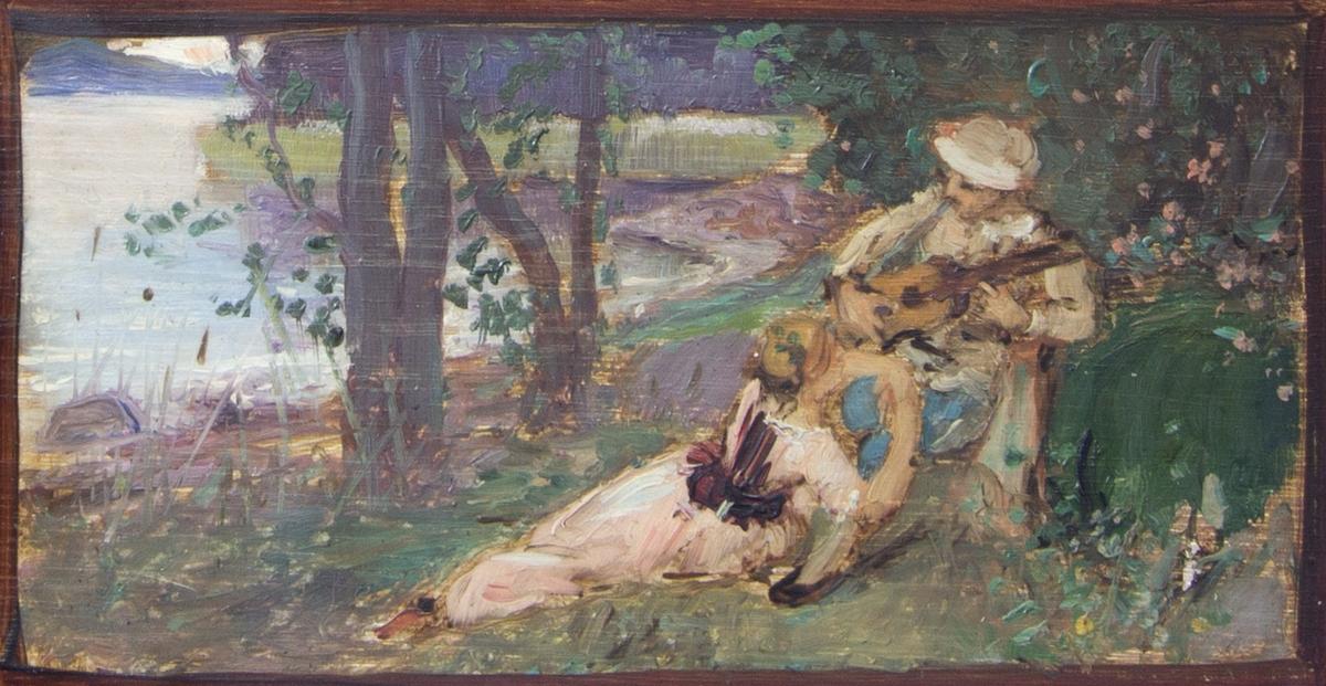 Ungt i gräset halvliggande par. Han spelar på en gitarr och hon slutar sig mot honom. I bakgrunden träd, annan växtlighet och till vänster en del av en sjö.
