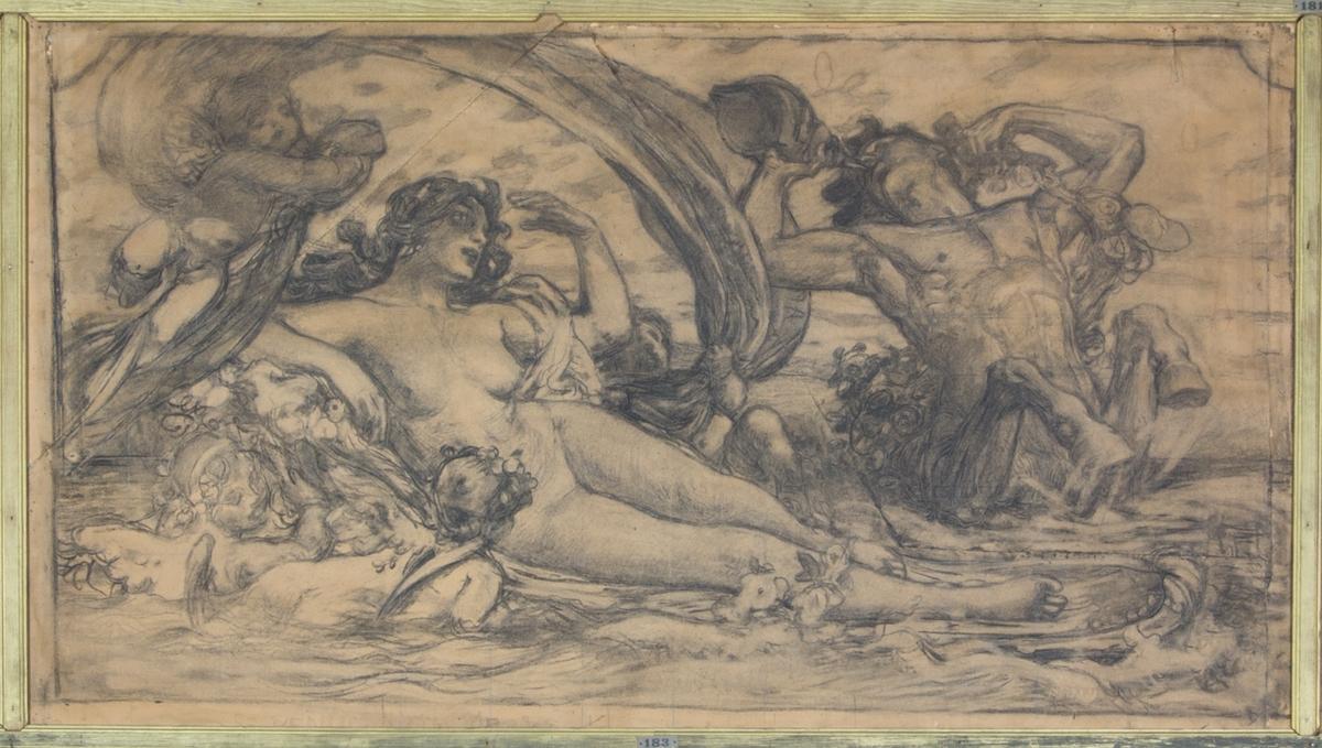 Venus liggande naken i vattnet omgiven av amoriner och en snäckblåsande triton. Över henne håller amorinerna ett fladdrande tygstycke.