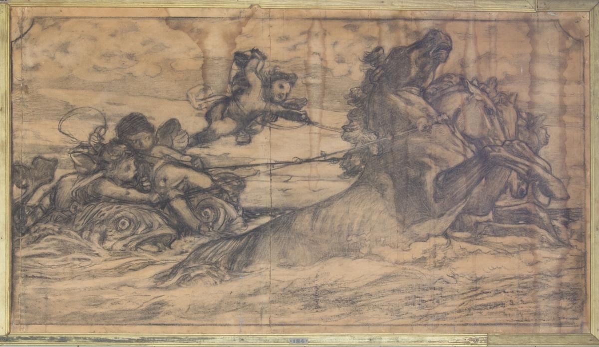 Två putti sittande på delfiner och en flygande putto, kör ett fyrspann av sjöhästar.