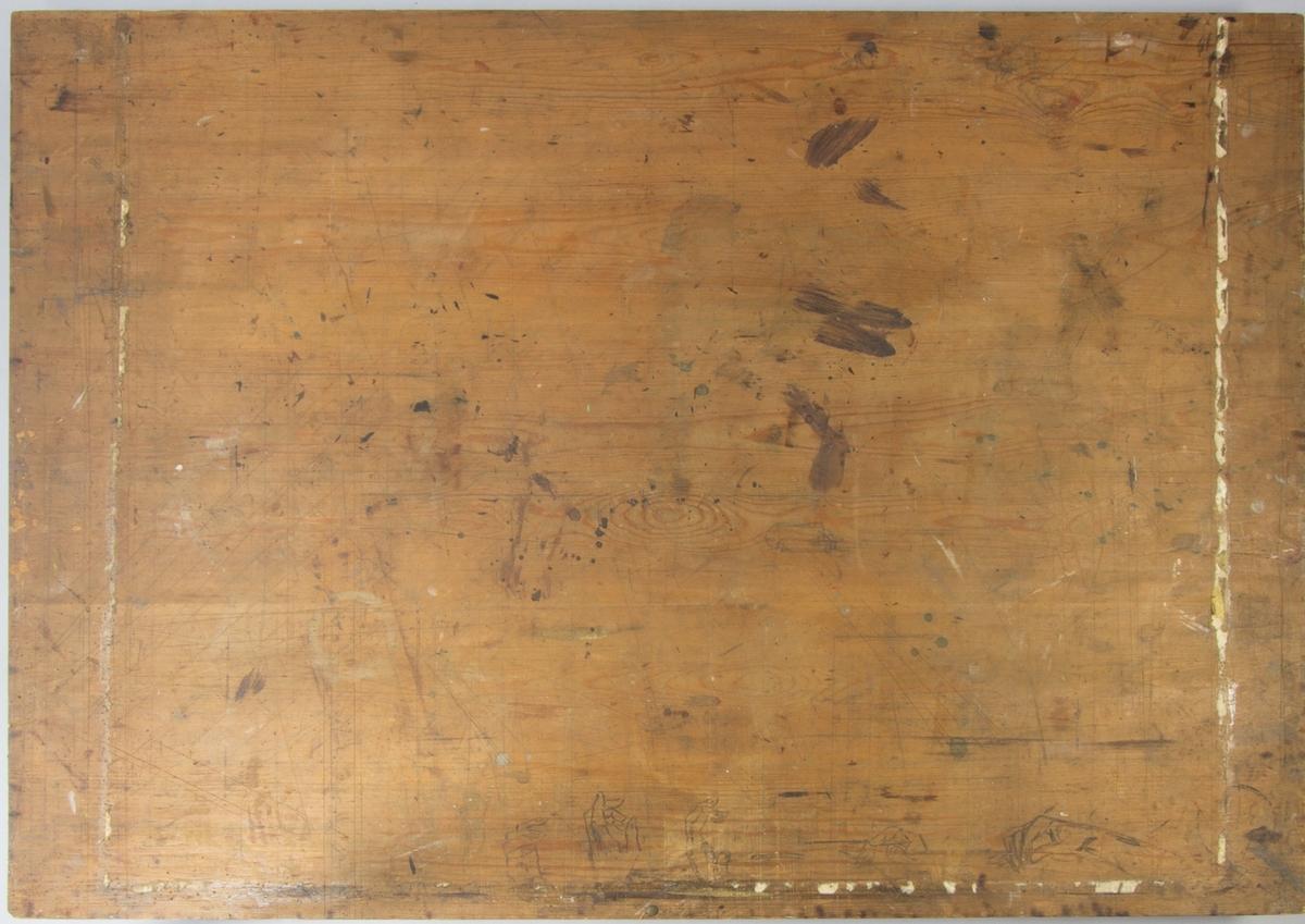 Ritbräde av omålat trä, rektangulärt. Framsidan slät och baksidan refflad med två tvärslåar. Färgfläckar och rester av klisterremsor. Längs ena sidan flera tecknade handstudier.