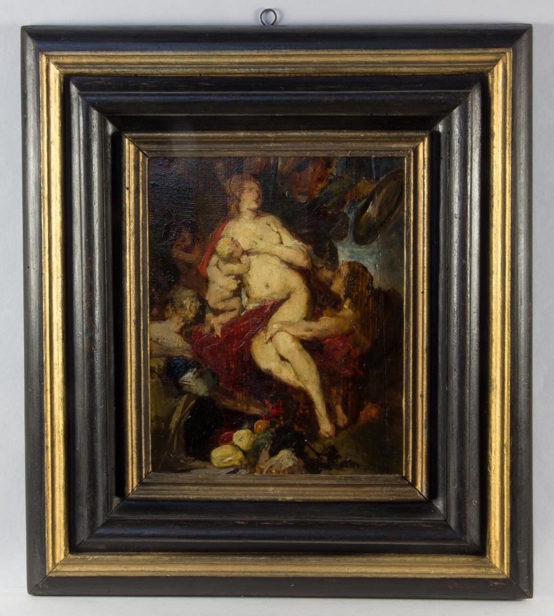 Grupp ur målningen Krig och fred, mittpartiet med Freden, en naken kvinna som har ett barn vid bröstet. Omgiven av flera figurer.