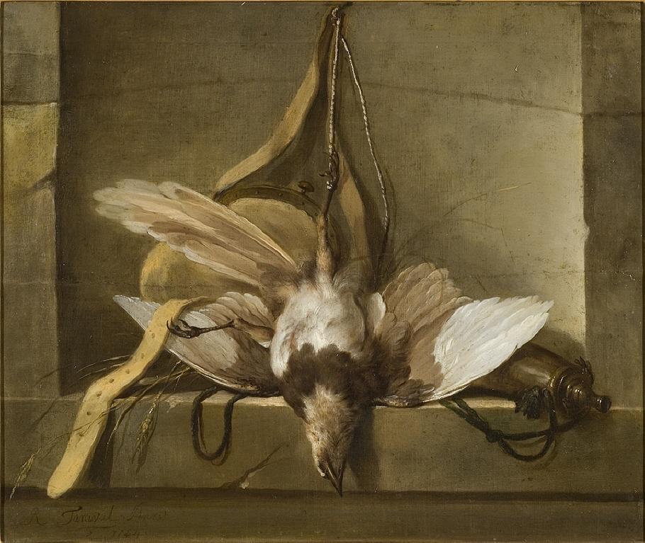 Stilleben med död fågel och jaktredskap