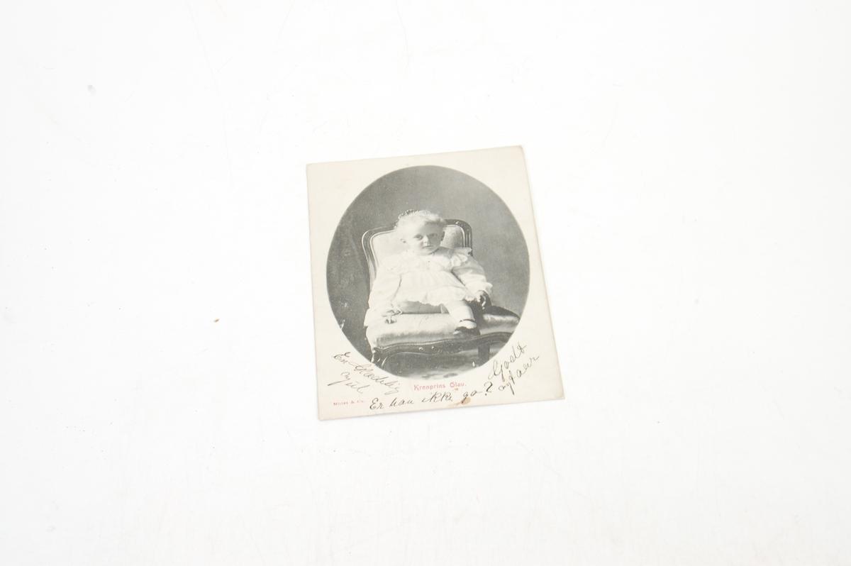 skrift, bilde av kronprins Olav