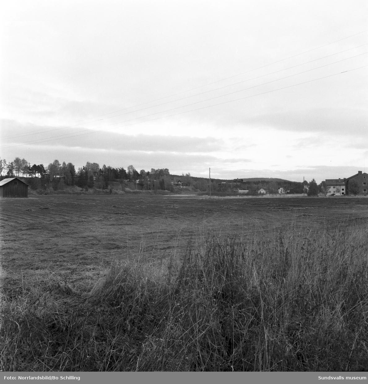 Område i Bergsåker innan flerfamiljshusen söder om travbanan byggdes.
