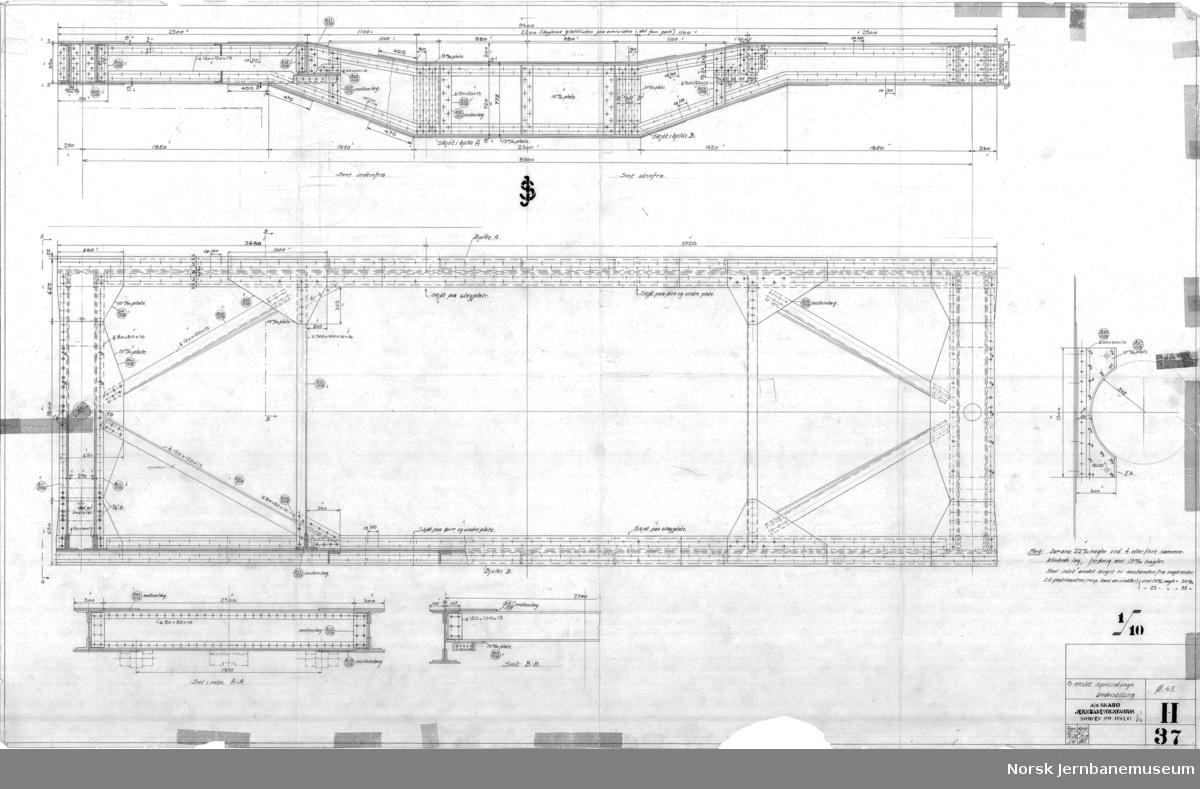 8 akslet specialvogn. Hovedtegning  H041 Hovedtegning H036 Mellembogie H037 Understilling