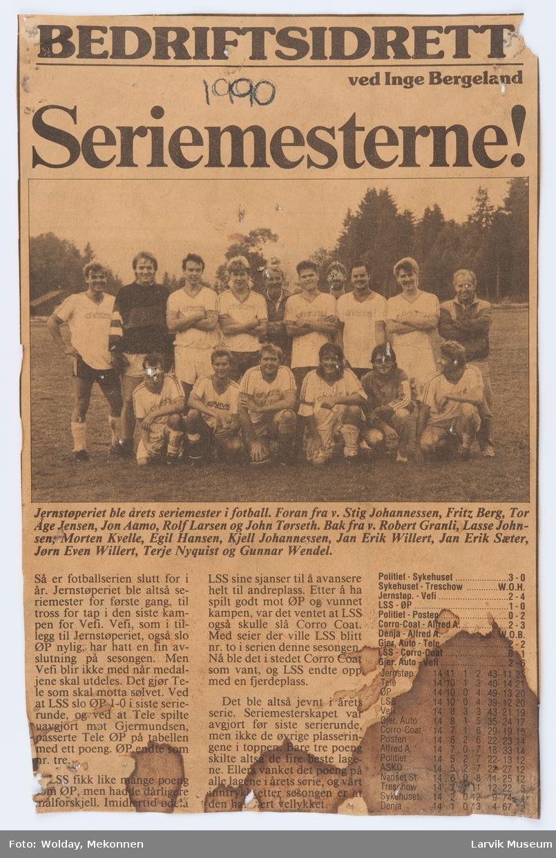 Jernstøperiets fotballag 1990.