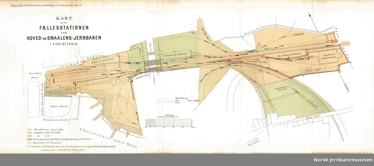 Kart over Fællesstationen for Hoved- og Smaalens-Jernbanen i Christiania