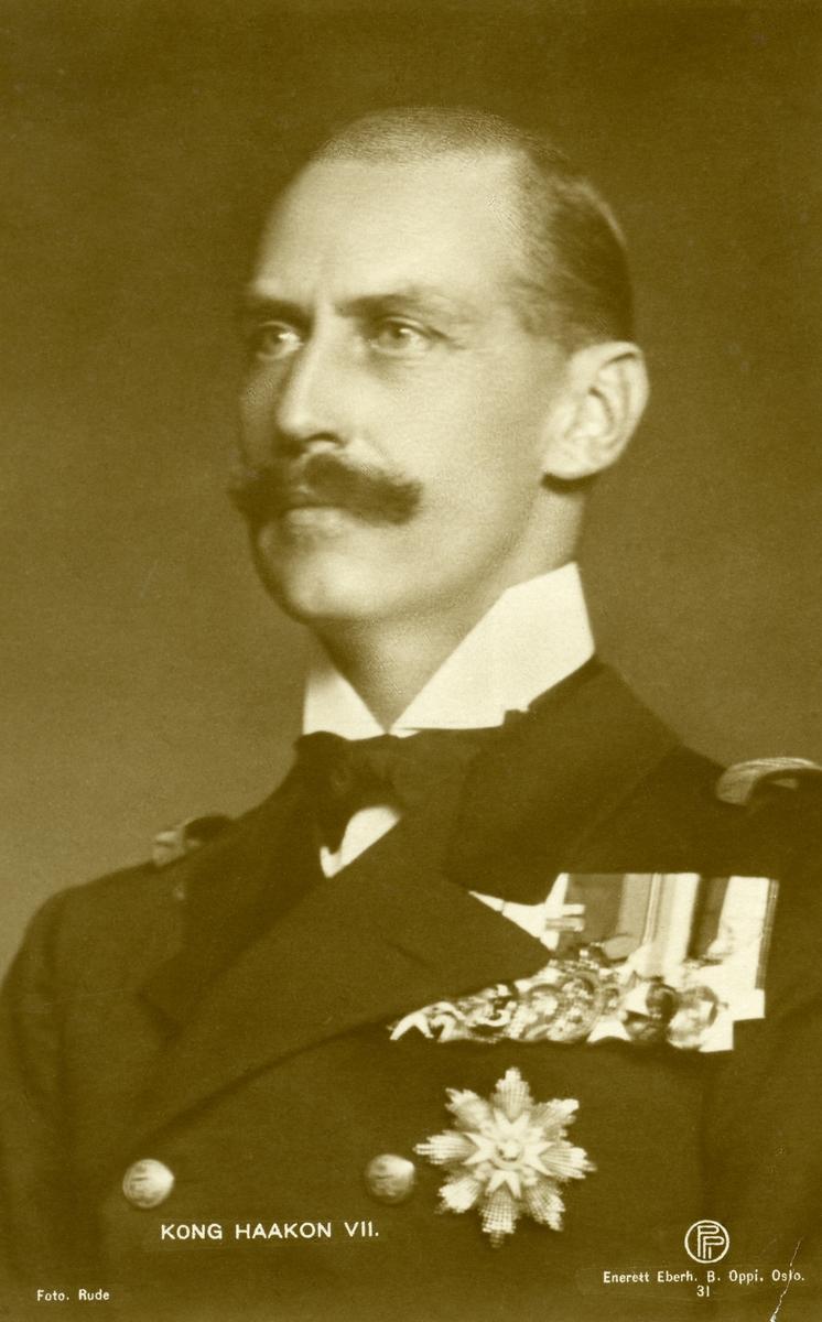 Prospektkort med motiv av Kong Haakon 7.