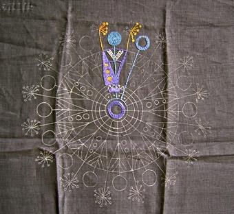 Tre broderiprover i linne med broderier i efterstygn och schattersöm. Proverna är påbörjade, mönstret är uppritat på väven. Samma mönster i tre olika färgställningar. Centrerat mönster med cirklar i varandra, uddar i mellanrumsformerna och stjälkar med blomfröställningar och rundlar. WLHF-0448:1 Grå linneväv, påbörjat broderi i blå nyanser. Första bilden. WLHF-0448:2 Grå linneväv, påbörjat broderi i röda nyanser. Andra bilden. WLHF-0448:3 Vinröd linneväv, påbörjat broderi i blå och gula nyanser.Tredje bilden.