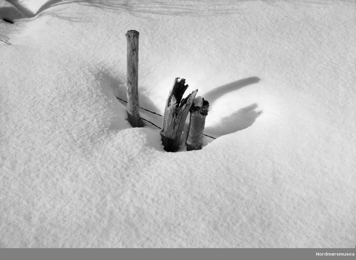 Et snødekt piggtrådgjerde. Ukjent hvor, men kan muligens være fra Sunndal kommune. Datering er ikke kjent, men kan muligens være fra tiden omkring 1930 til 1960. Fra Nordmøre museums fotosamlinger.