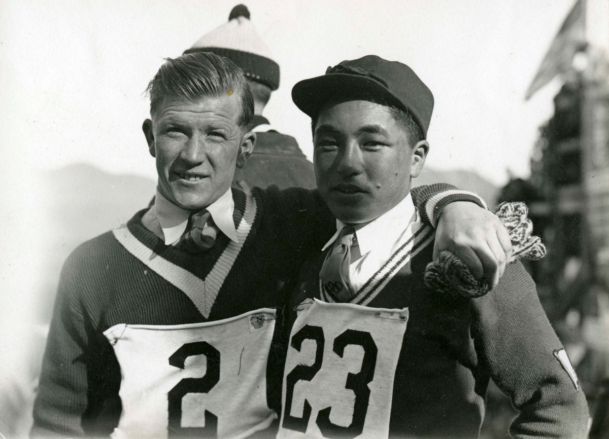 Athlete Birger Ruud with japanese friend