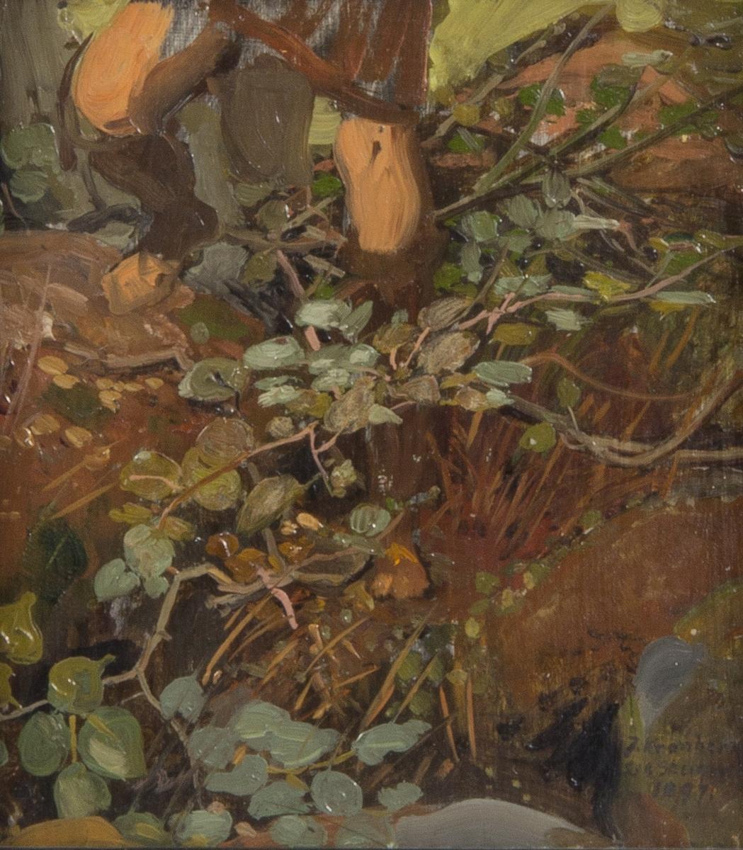 Bladverk och nedre delen av en människa med knän och fotbeklädnad avbildade. Detalj till målningen Diana.
