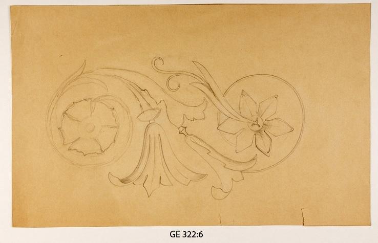Kolteckning. Blomornament.   Ev. dubbelregistrerat (GE 282 ?).  Inskrivet i huvudbok 2008.