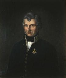 Portrett av Wulfsberg. Grått hår, mørk uniform. Amtmannsuniform etter 1815. Orden festet på brystet.