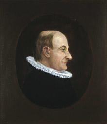 Portrett av eidsvollsmann og prest Georg B. Jersin  Mann med tynt hår, høy panne, profil, lang nese, prestekledd, innskrevet i oval. (Foto/Photo)