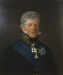 Portrett av Peter Motzfeldt.  Grått, kort hår. Statsrådsuniform (etter 1815), høy krave m/gull, blått ordensbånd, 3 ordener. (Foto/Photo)