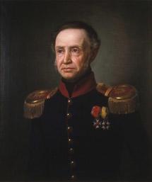 Portrett av Henrik Sibbern. Uniform, ingeniøroberstløytnantsuniform, blå kjol m/rød krave, epåletter, to ordener.