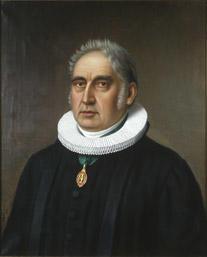 Portrett av Hans Jacob Stabel. Prestekjole og pipekrave. Medalje eller orden i grønt bånd rundt halsen.