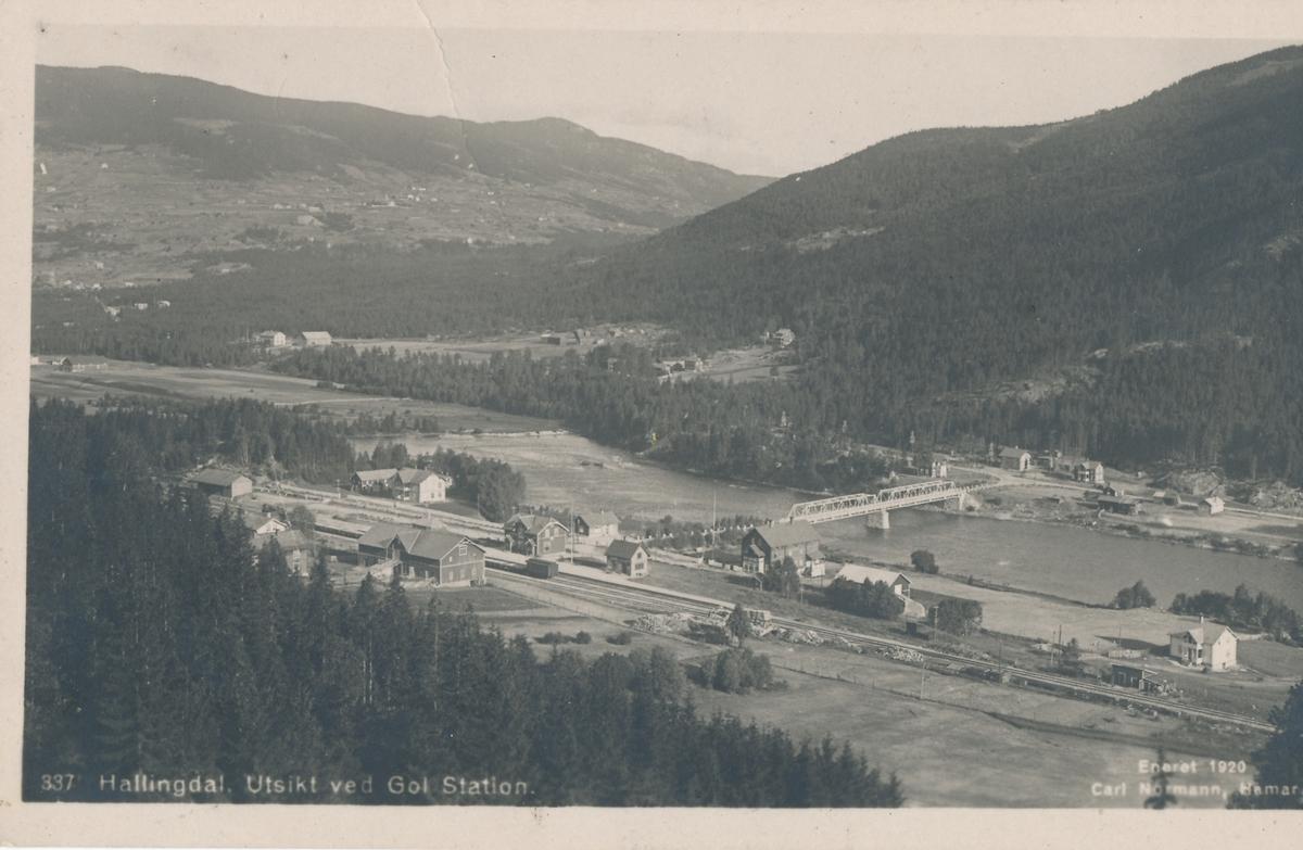 Utsikt over Gol med jernbanestasjonen.