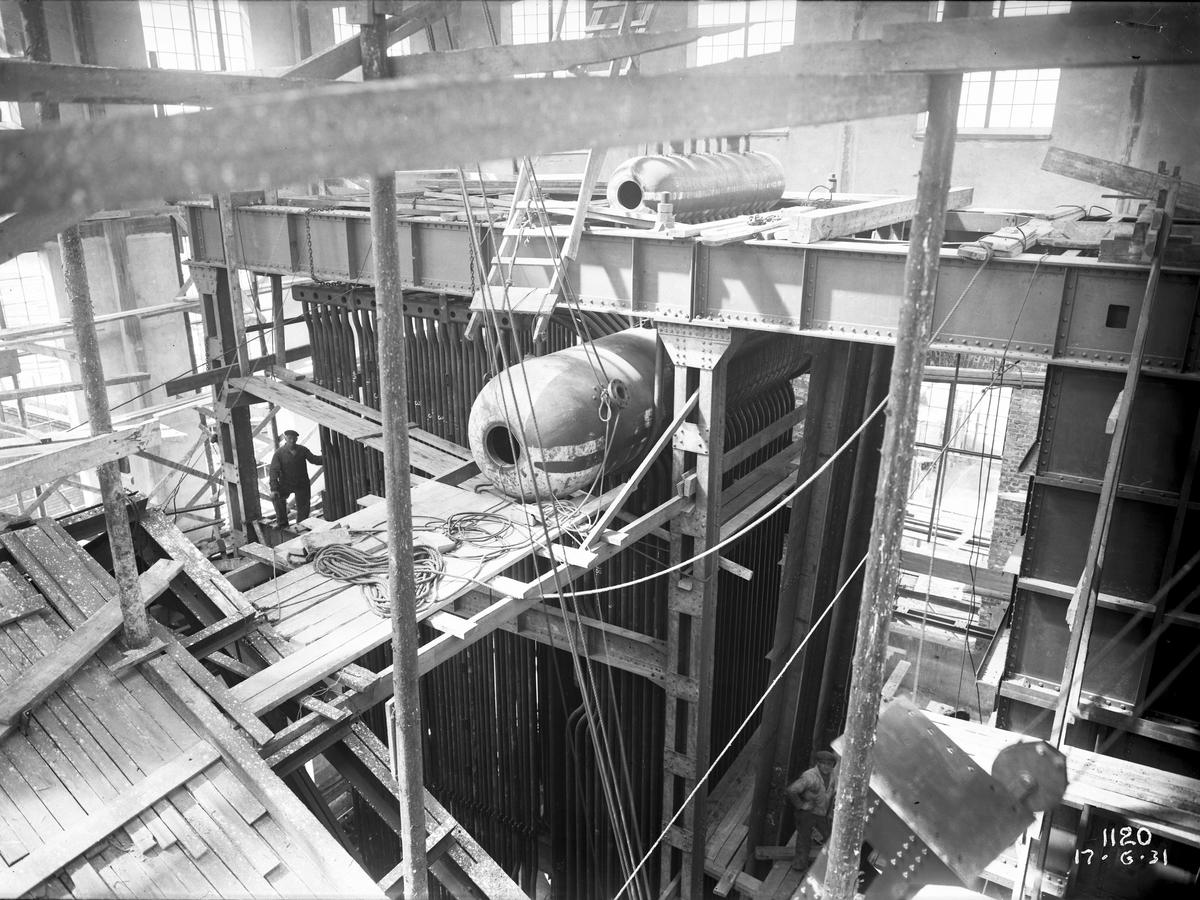 Nya Pannhuset, interiör från övre delen av den nya pannan. Den 17 juni  1931