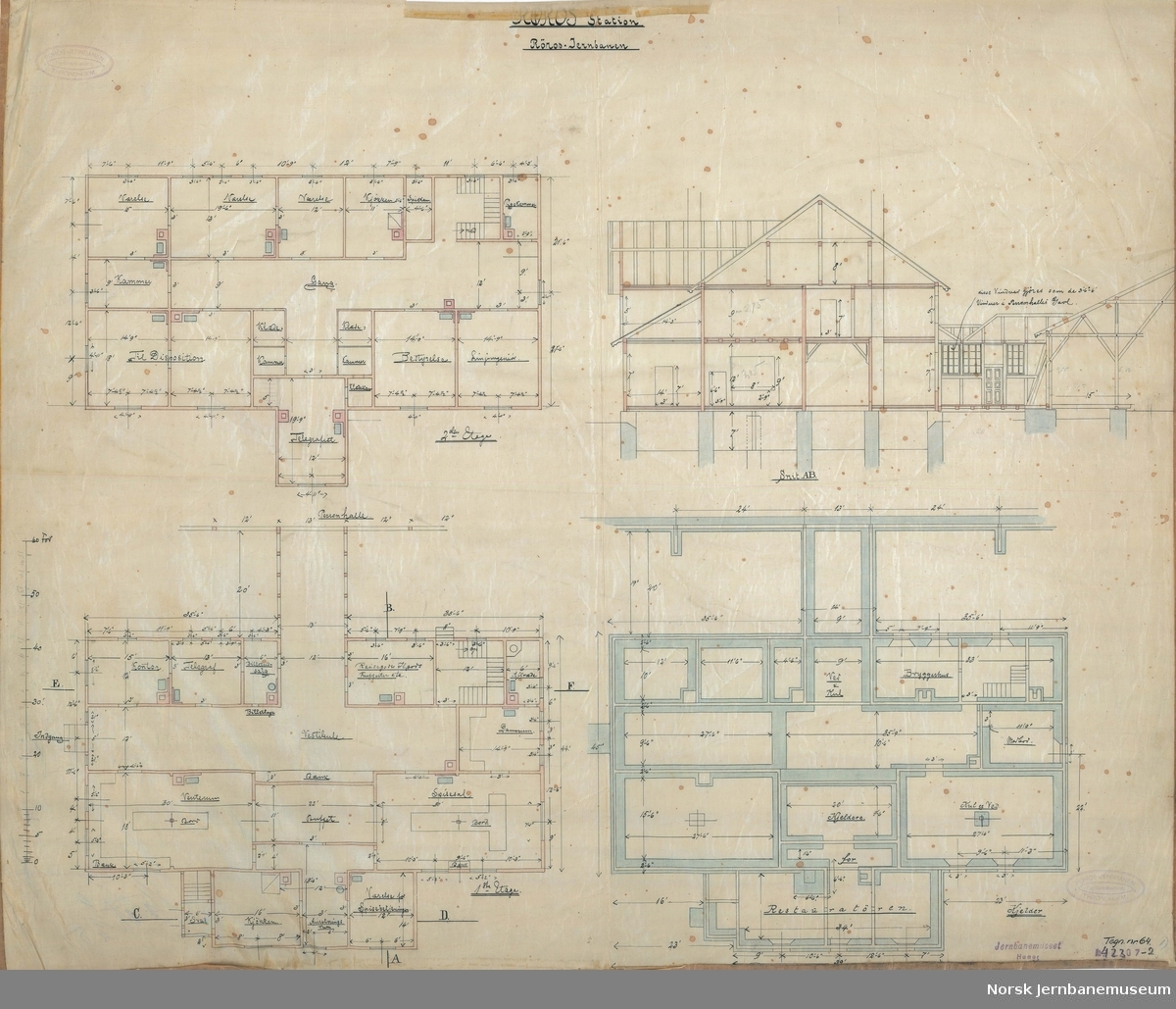 Røros Station. Grundplaner og reisverk. Tegn. nr. 64. Ajourført 10.05.1905