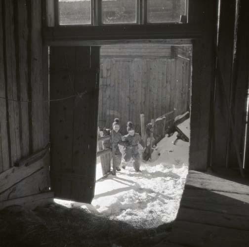 Solen skiner och kastar skuggor från två barn som kommer springande i snön mot höskullen. Ena dörren står öppen och passagen släpper in nog med solljus för att höet innanför dörröppningen ska bli synligt.