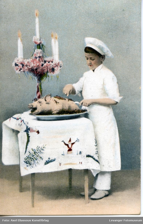 Postkort, kokk med helstekt gris.