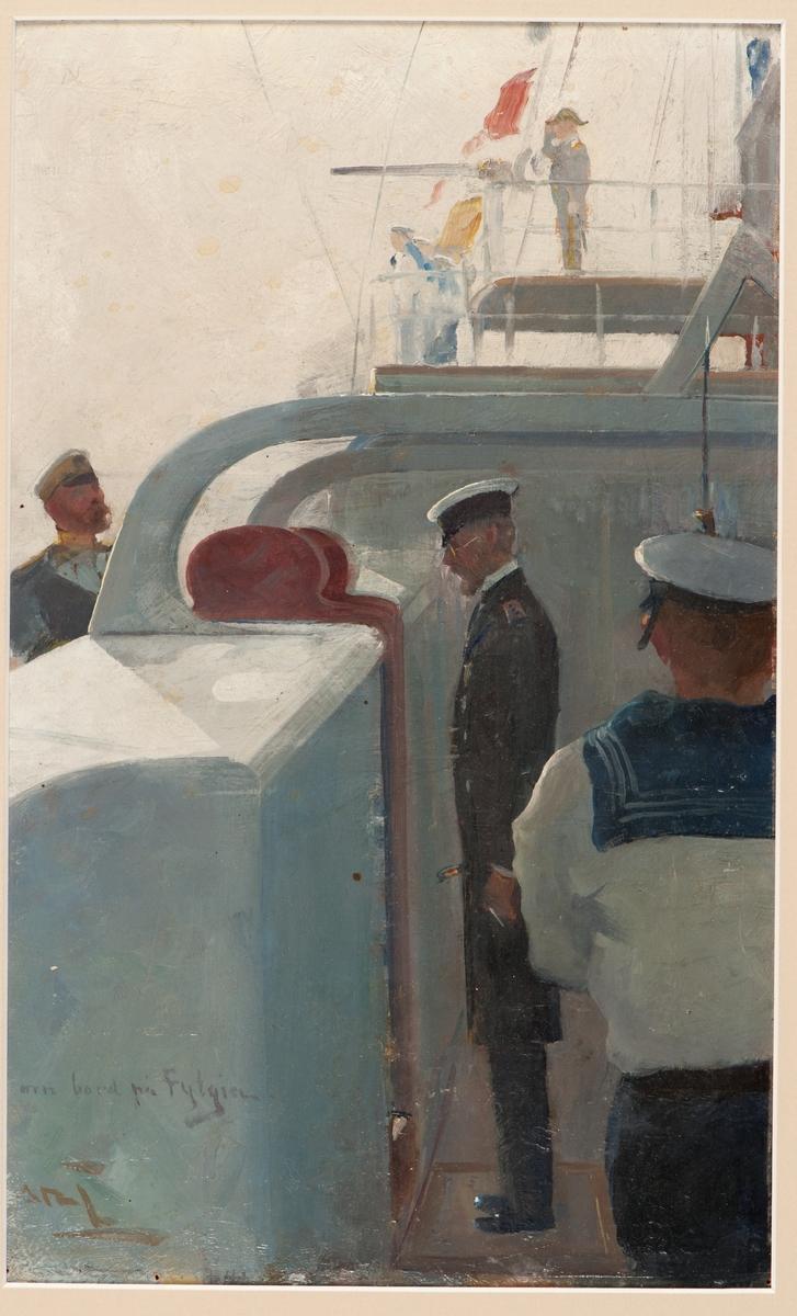 Föreställande pansarkryssaren Fylgias styrbords halvdäck med fallrepsport där man ser Gustav V i rysk uniform (rock) ta emot ryske kejsaren iförd svensk amiralsuniform.