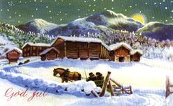 Julekort. Ubrukt. Vintermotiv. Landskap. Fjellgård med tømme