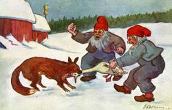 Julekort. Jule- og nyttårshilsen. Vintermotiv. Fra en gårdsp
